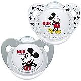 NUK Disney Mickey Mouse Trendline - Chupete de silicona (6-18 meses, sin BPA, 2 unidades), color gris
