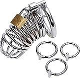 Anillo hipoalergénico de protección del dispositivo de acero inoxidable macho, 3 collares reemplazables, adecuado para hombres de cualquier tamaño