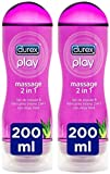 Durex Play Massage 2 en 1 Gel de Masaje Erótico y Lubricante con Aloe Vera 200 ml [Pack 2 Unidades]