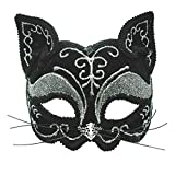 Black and Silver Decorative Cat Eye Mask (máscara/careta)