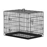 PawHut Transportín de Perro de 2 Puertas Jaula de Alambre para Perros Plegable con Asa Acero 91x61x67cm Negro