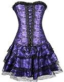 EUDOLAH Minifalda de Vestido de Ramillete Gótico Enagua Top Bustier con Falda de Tutú(630 Morado,XX-Large)