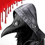 CompraFun Máscara de Doctor Plaga, Pico de Pájaro de Nariz Larga Steampunk, Máscara de Disfraz de Fiesta de Carnaval de Halloween (Negro)