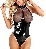 Lencería Mujer Sexy Monos Babydoll Camisón Ropa Interior Erotica Conjunto Tanga Entrepierna Abierta Bodysuit Lingerie Transparente Negro