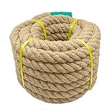 Aoneky Cuerda de Yute Natural - 20/22/25/30/40/50mm, 15/30M, Cuerda Gruesa de Cáñamo Torcida para Bricolaje, Cuerda Decorativa para Hogar Casa Jardín Deportes, Marrón (15M × 25mm)