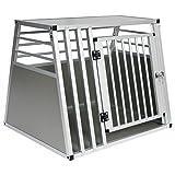 EUGAD Transportín de Aluminio para Perros Gatos Mascotas Jaula Transporte de Viaje para Mascotas Trapezoidal 1 Puerta Plata 80 x 65 x 65 cm 0061HT