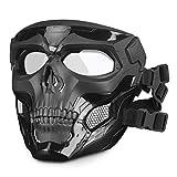 Huntvp táctica Máscara Skull Protectora Máscara Militar Paintball para Hombres Paintball Airsoft CS Cosplay Halloween, Tipo 1 Negro